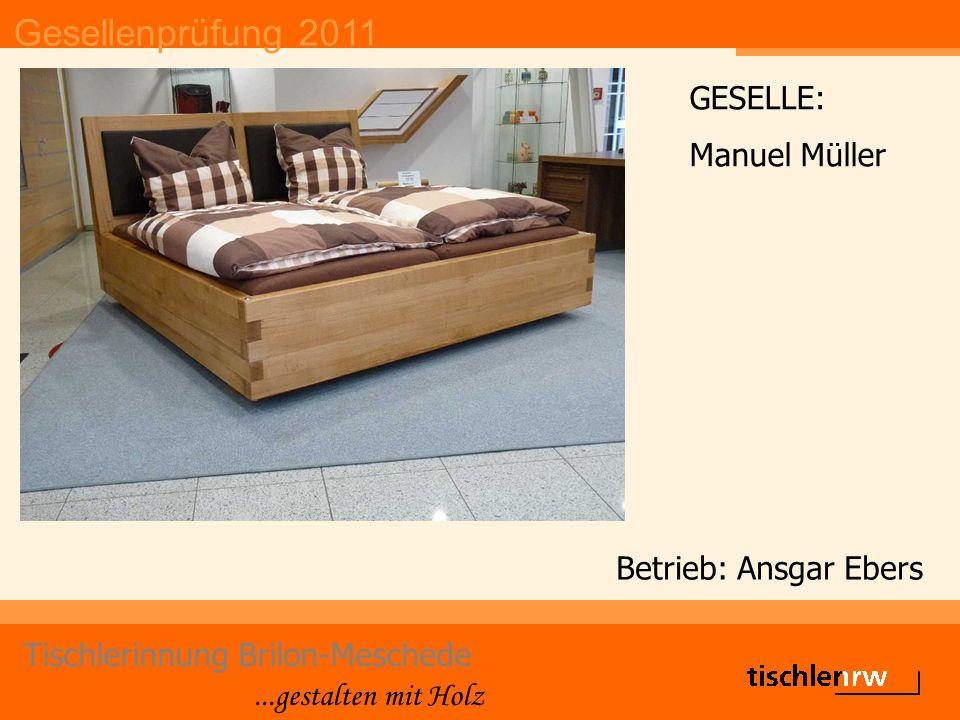 Gesellenprüfung 2011 Tischlerinnung Brilon-Meschede...gestalten mit Holz Betrieb: Ansgar Ebers GESELLE: Manuel Müller