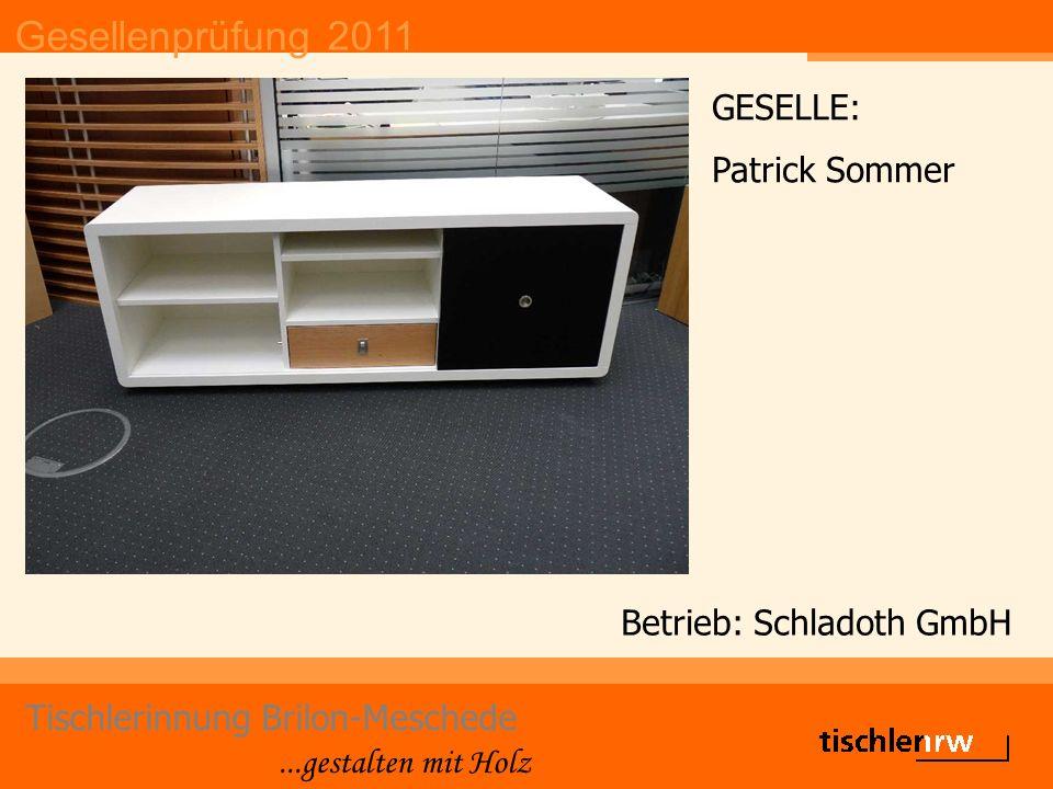 Gesellenprüfung 2011 Tischlerinnung Brilon-Meschede...gestalten mit Holz Betrieb: Schladoth GmbH GESELLE: Patrick Sommer