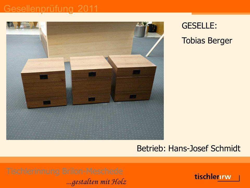 Gesellenprüfung 2011 Tischlerinnung Brilon-Meschede...gestalten mit Holz Betrieb: Johannes & Bruno Peus GmbH GESELLE: Maximilian Wrede