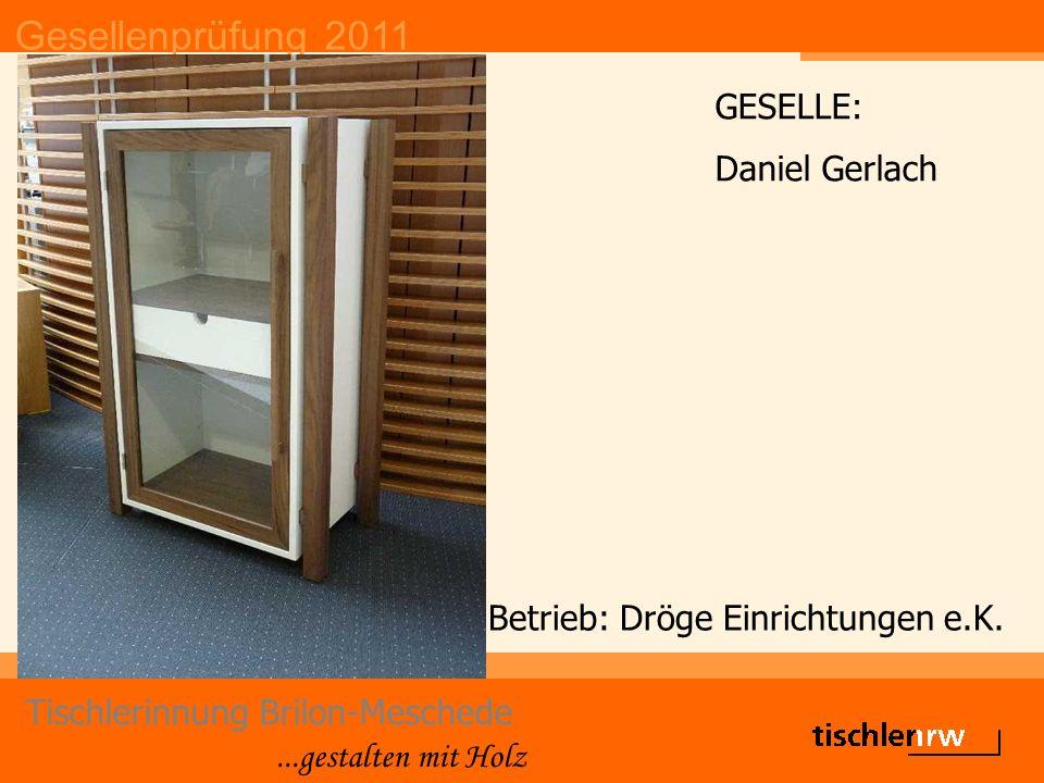 Gesellenprüfung 2011 Tischlerinnung Brilon-Meschede...gestalten mit Holz Betrieb: Dröge Einrichtungen e.K. GESELLE: Daniel Gerlach