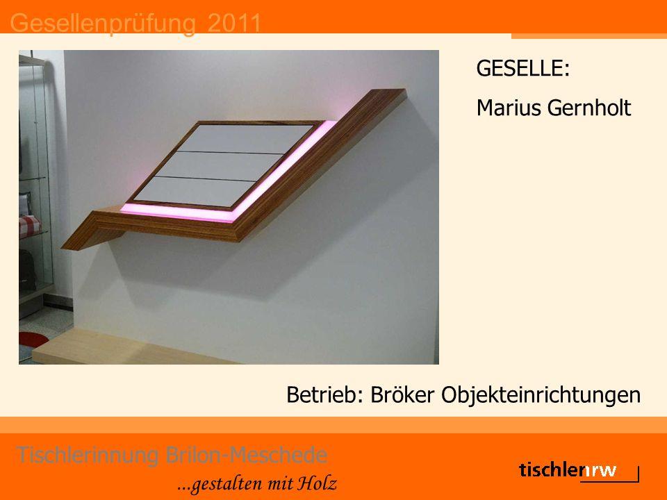 Gesellenprüfung 2011 Tischlerinnung Brilon-Meschede...gestalten mit Holz Betrieb: Joachim Schleifstein GESELLE: Jan Philipp Schleifstein