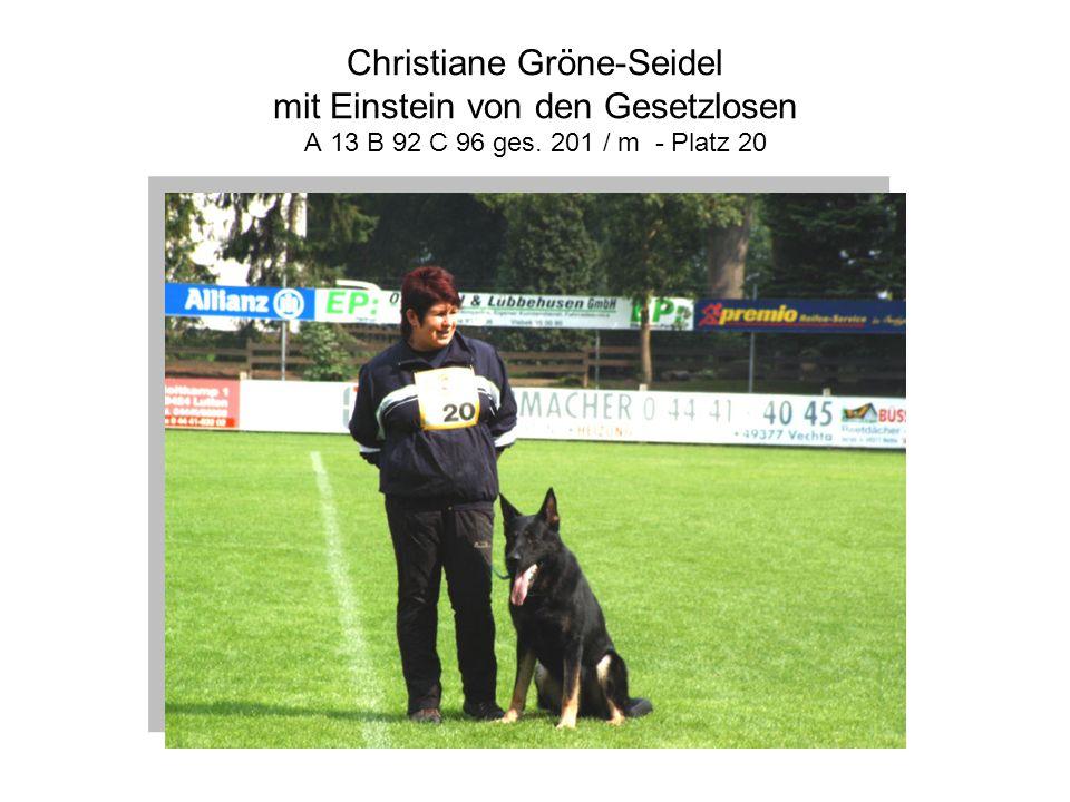 Christiane Gröne-Seidel mit Einstein von den Gesetzlosen A 13 B 92 C 96 ges. 201 / m - Platz 20