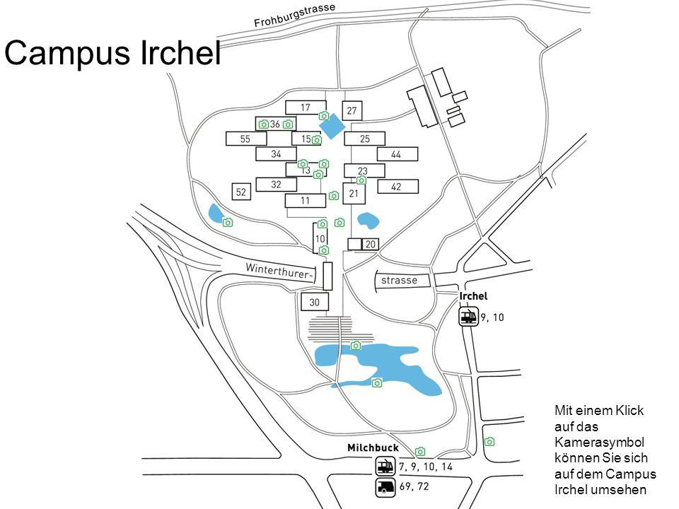 Mit einem Klick auf das Kamerasymbol können Sie sich auf dem Campus Irchel umsehen Campus Irchel