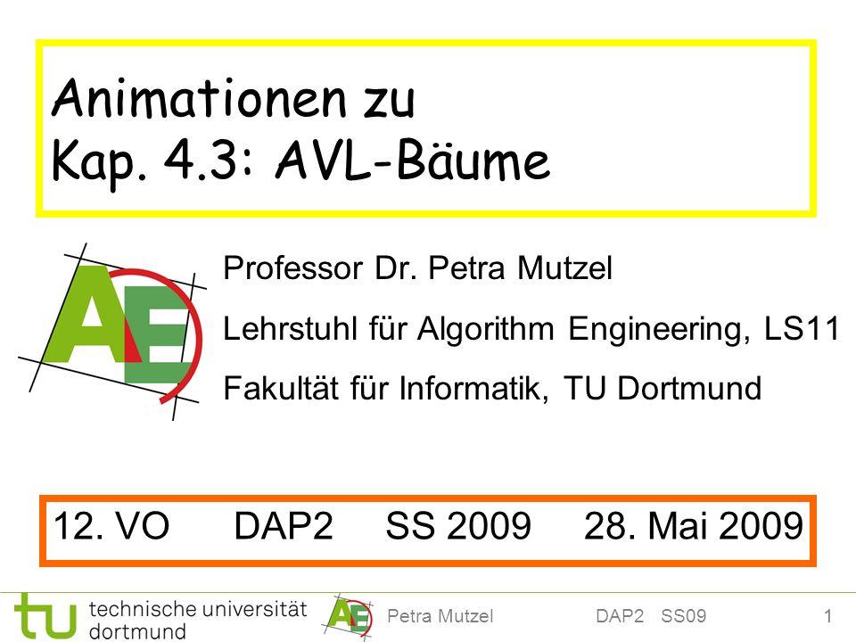 1Petra Mutzel DAP2 SS09 Animationen zu Kap. 4.3: AVL-Bäume Professor Dr. Petra Mutzel Lehrstuhl für Algorithm Engineering, LS11 Fakultät für Informati