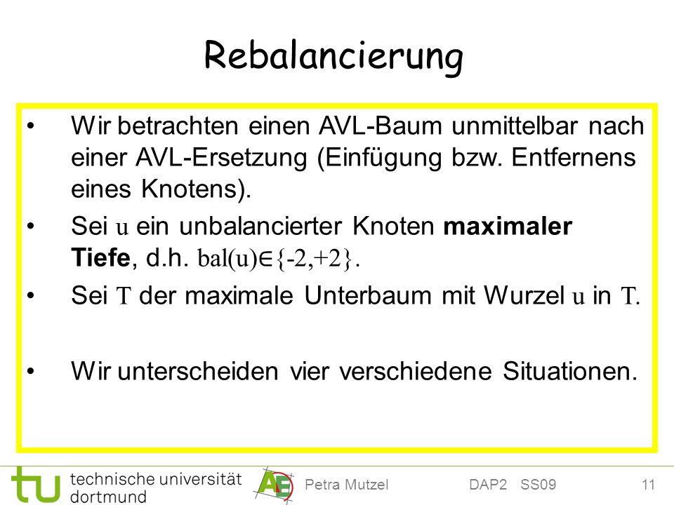 11Petra Mutzel DAP2 SS09 Rebalancierung Wir betrachten einen AVL-Baum unmittelbar nach einer AVL-Ersetzung (Einfügung bzw. Entfernens eines Knotens).