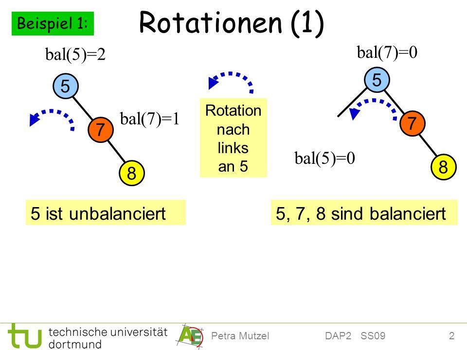2Petra Mutzel DAP2 SS09 Rotationen (1) 8 7 5 bal(5)=2 bal(7)=0 bal(7)=1 5 ist unbalanciert5, 7, 8 sind balanciert bal(5)=0 Rotation nach links an 5 8 7 5 Beispiel 1: