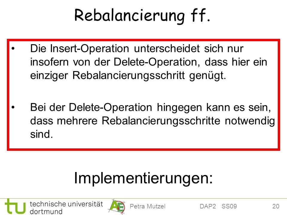 20Petra Mutzel DAP2 SS09 Rebalancierung ff. Die Insert-Operation unterscheidet sich nur insofern von der Delete-Operation, dass hier ein einziger Reba