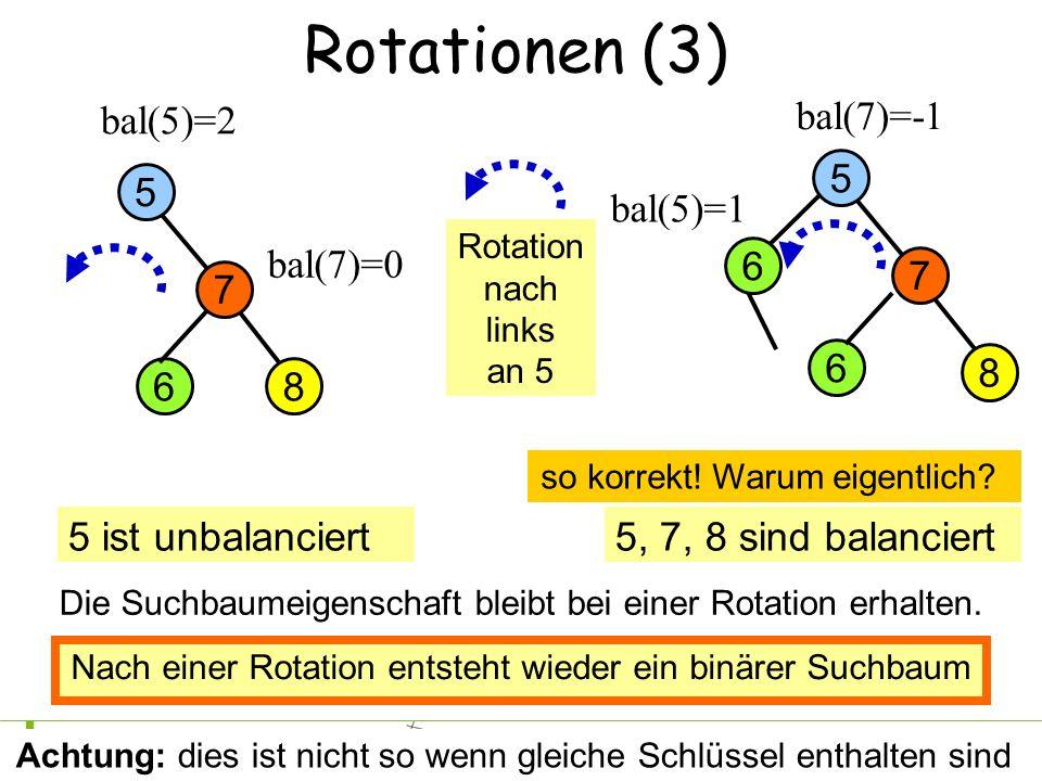 4Petra Mutzel DAP2 SS09 Rotationen (3) 8 7 5 bal(5)=2 6 bal(7)=-1 bal(7)=0 5 ist unbalanciert5, 7, 8 sind balanciert bal(5)=1 Rotation nach links an 5 8 7 5 6 falsch: die 6 muss mitwandern 6 Nach einer Rotation entsteht wieder ein binärer Suchbaum Achtung: dies ist nicht so wenn gleiche Schlüssel enthalten sind so korrekt.