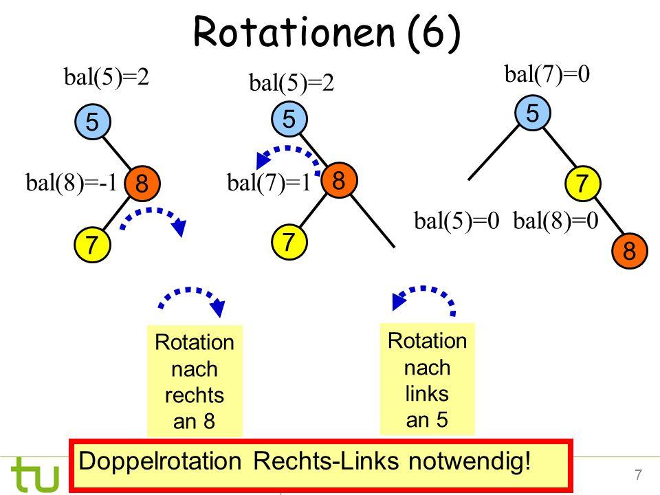 7Petra Mutzel DAP2 SS09 bal(8)=0 Rotationen (6) 7 5 bal(5)=2 bal(7)=0 bal(8)=-1 Doppelrotation Rechts-Links notwendig! bal(5)=0 Rotation nach rechts a