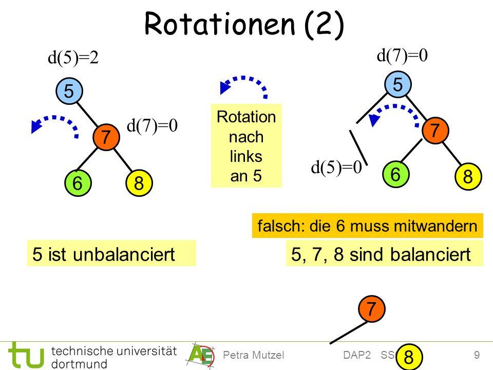 9Petra Mutzel DAP2 SS09 Rotationen (2) 8 7 5 d(5)=2 8 6 7 d(7)=0 5 ist unbalanciert5, 7, 8 sind balanciert d(5)=0 Rotation nach links an 5 8 7 5 6 falsch: die 6 muss mitwandern