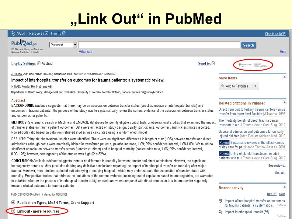 Link Out in PubMed