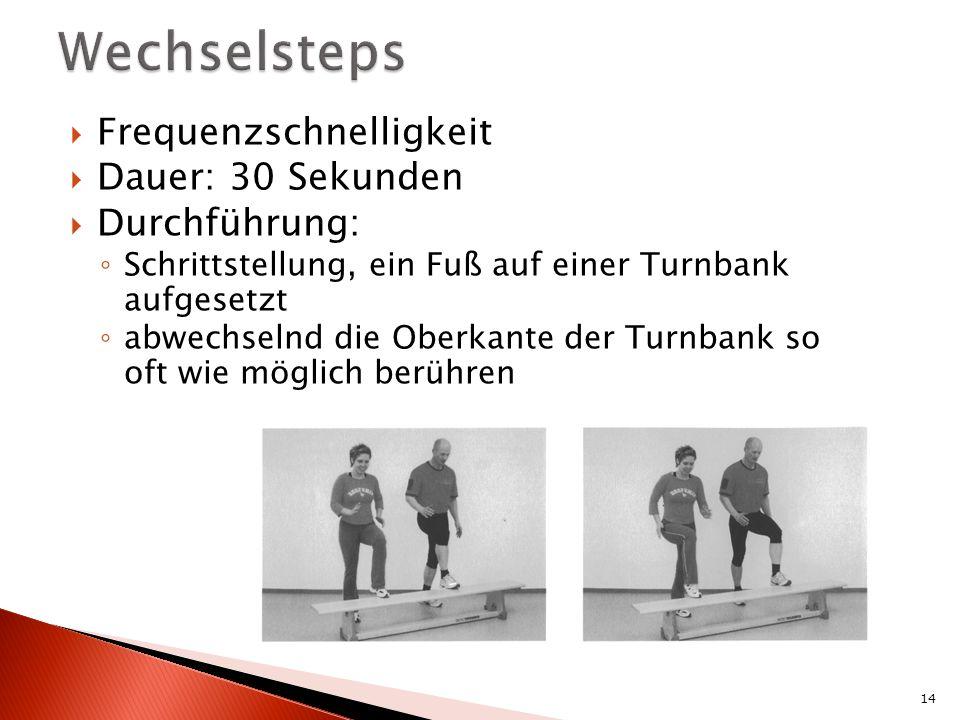 Frequenzschnelligkeit Dauer: 30 Sekunden Durchführung: Schrittstellung, ein Fuß auf einer Turnbank aufgesetzt abwechselnd die Oberkante der Turnbank so oft wie möglich berühren 14