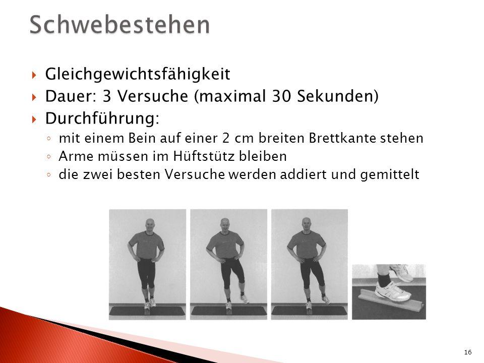 Gleichgewichtsfähigkeit Dauer: 3 Versuche (maximal 30 Sekunden) Durchführung: mit einem Bein auf einer 2 cm breiten Brettkante stehen Arme müssen im Hüftstütz bleiben die zwei besten Versuche werden addiert und gemittelt 16