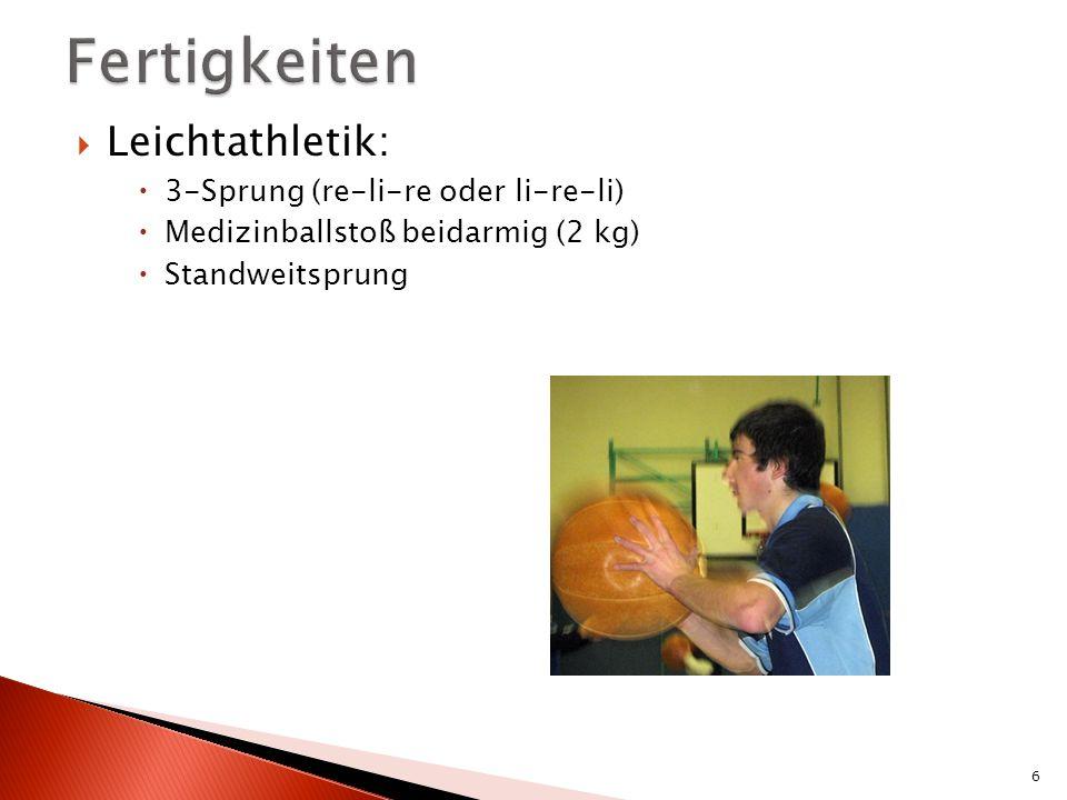 Leichtathletik: 3-Sprung (re-li-re oder li-re-li) Medizinballstoß beidarmig (2 kg) Standweitsprung 6