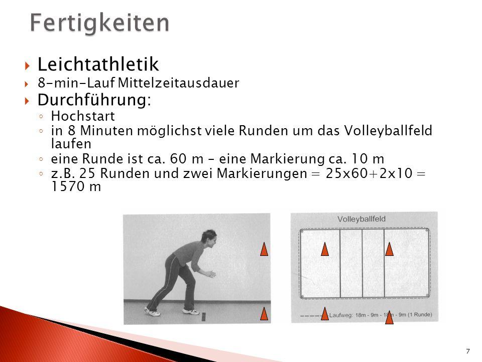 Leichtathletik 8-min-Lauf Mittelzeitausdauer Durchführung: Hochstart in 8 Minuten möglichst viele Runden um das Volleyballfeld laufen eine Runde ist ca.