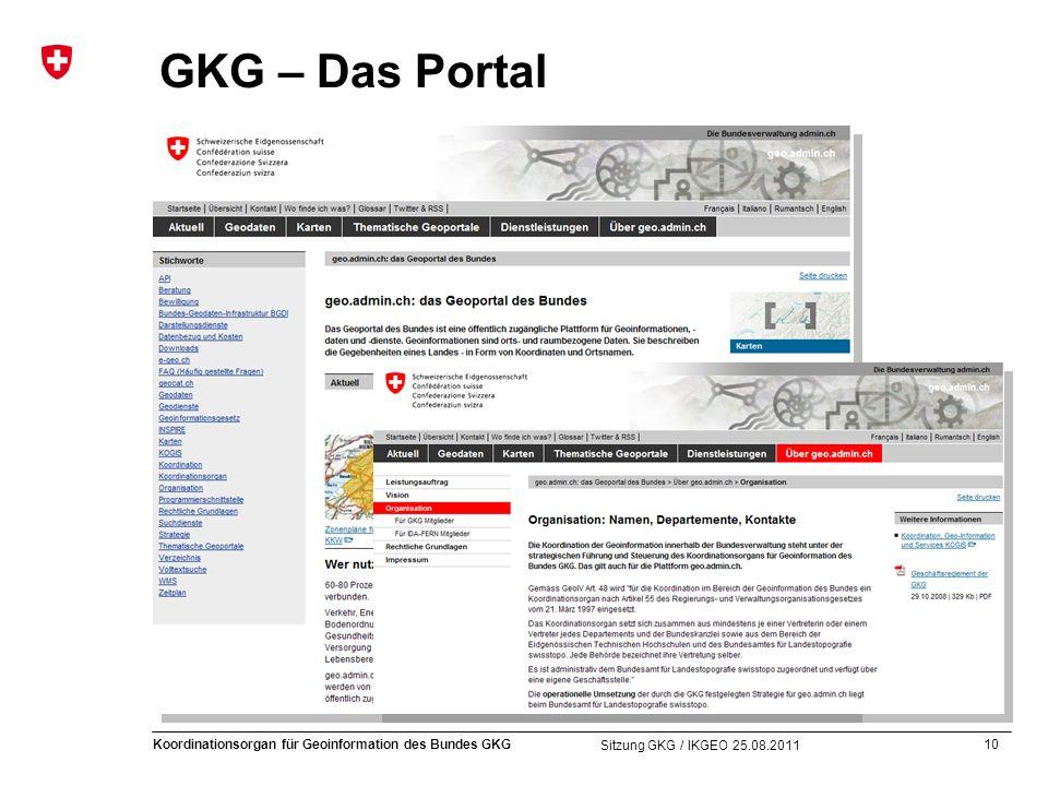 10 Koordinationsorgan für Geoinformation des Bundes GKG Sitzung GKG / IKGEO 25.08.2011 GKG – Das Portal