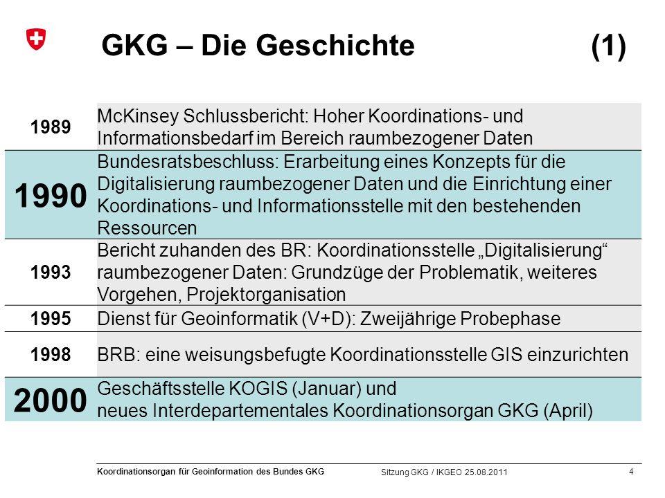 4 Koordinationsorgan für Geoinformation des Bundes GKG Sitzung GKG / IKGEO 25.08.2011 GKG – Die Geschichte (1) 1989 McKinsey Schlussbericht: Hoher Koo