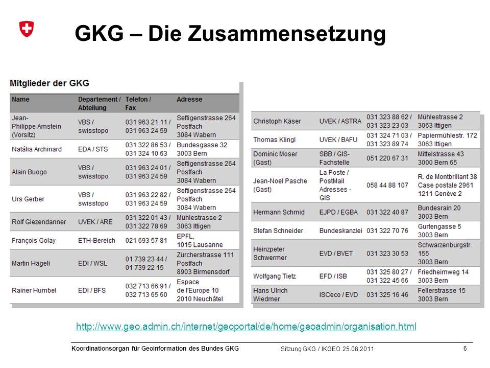 6 Koordinationsorgan für Geoinformation des Bundes GKG Sitzung GKG / IKGEO 25.08.2011 GKG – Die Zusammensetzung http://www.geo.admin.ch/internet/geoportal/de/home/geoadmin/organisation.html