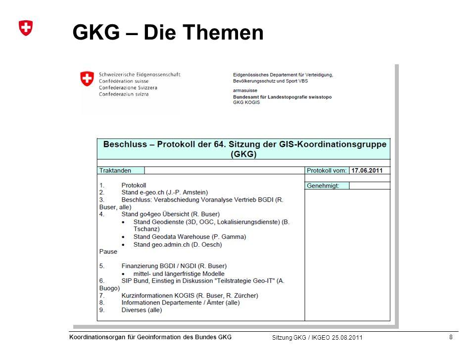 8 Koordinationsorgan für Geoinformation des Bundes GKG Sitzung GKG / IKGEO 25.08.2011 GKG – Die Themen