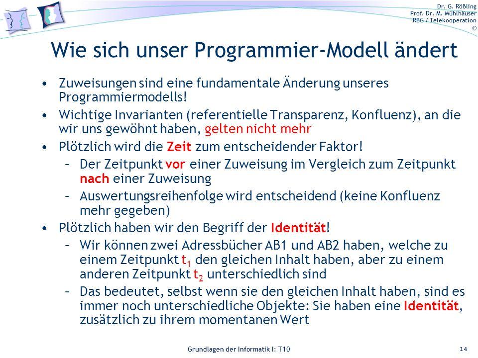 Dr. G. Rößling Prof. Dr. M. Mühlhäuser RBG / Telekooperation © Grundlagen der Informatik I: T10 Wie sich unser Programmier-Modell ändert Zuweisungen s