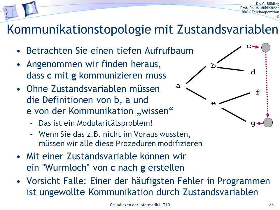 Dr. G. Rößling Prof. Dr. M. Mühlhäuser RBG / Telekooperation © Grundlagen der Informatik I: T10 Kommunikationstopologie mit Zustandsvariablen Betracht