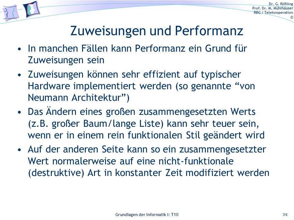 Dr. G. Rößling Prof. Dr. M. Mühlhäuser RBG / Telekooperation © Grundlagen der Informatik I: T10 Zuweisungen und Performanz In manchen Fällen kann Perf