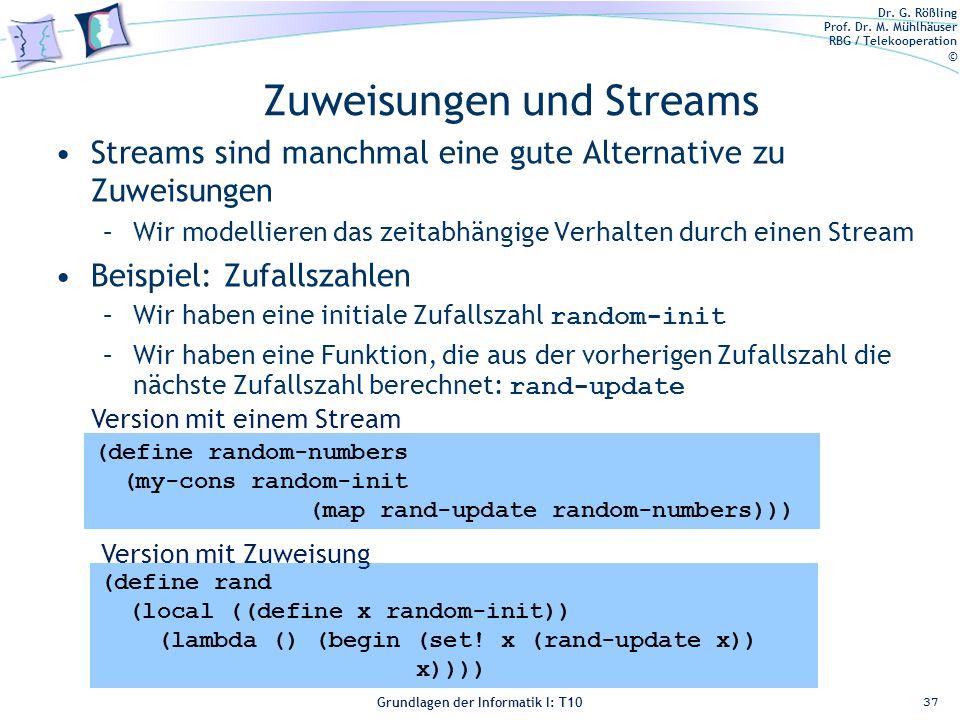 Dr. G. Rößling Prof. Dr. M. Mühlhäuser RBG / Telekooperation © Grundlagen der Informatik I: T10 Zuweisungen und Streams Streams sind manchmal eine gut