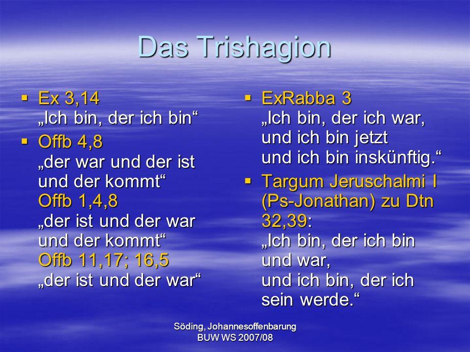 Söding, Johannesoffenbarung BUW WS 2007/08 Das Trishagion Ex 3,14 Ich bin, der ich bin Ex 3,14 Ich bin, der ich bin Offb 4,8 der war und der ist und d
