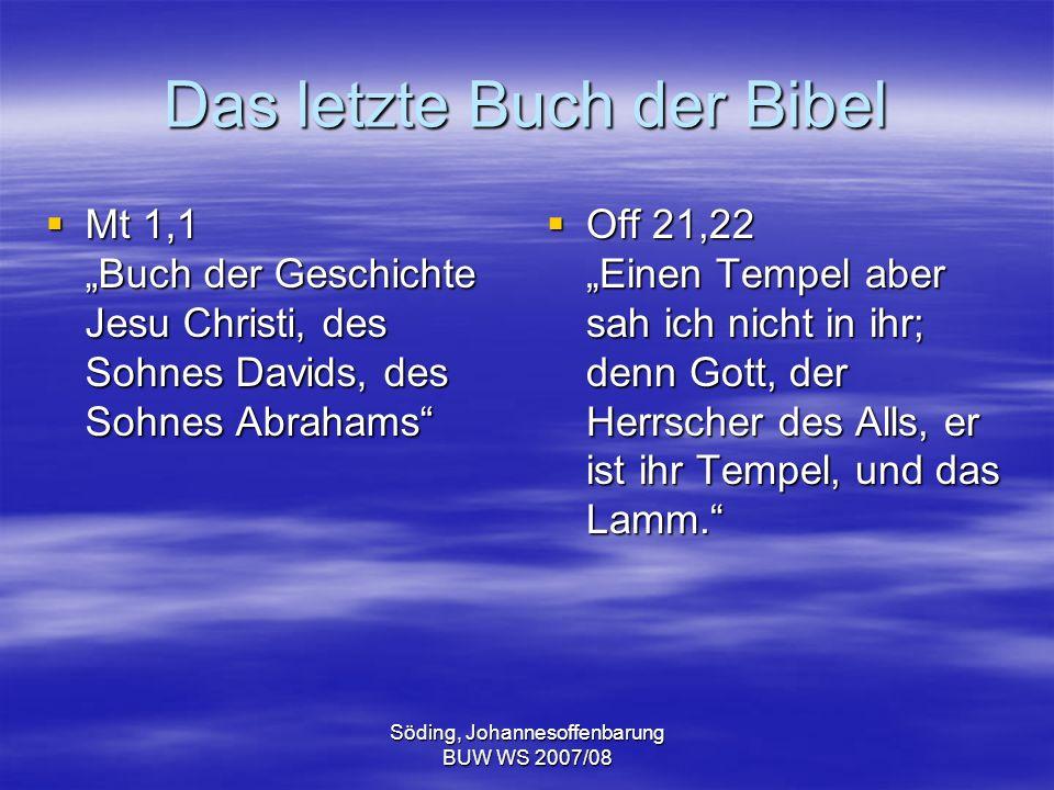 Söding, Johannesoffenbarung BUW WS 2007/08 Die Thronsaalvision (Offb 4) Offb 4,1f.