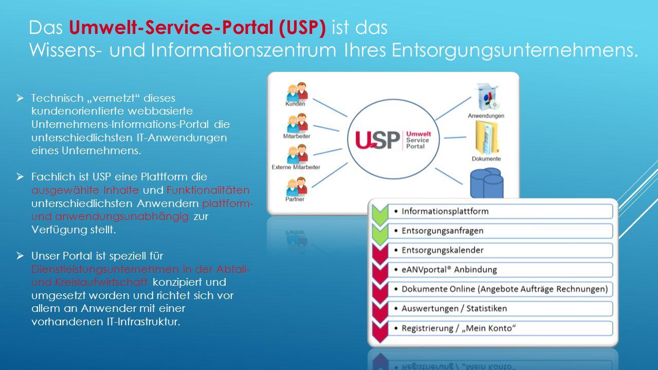 Das Umwelt-Service-Portal (USP) ist das Wissens- und Informationszentrum Ihres Entsorgungsunternehmens.