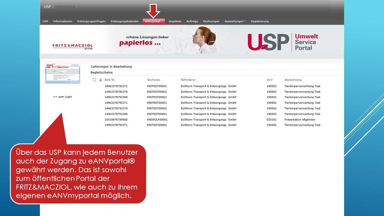 Über das USP kann jedem Benutzer auch der Zugang zu eANVportal® gewährt werden.