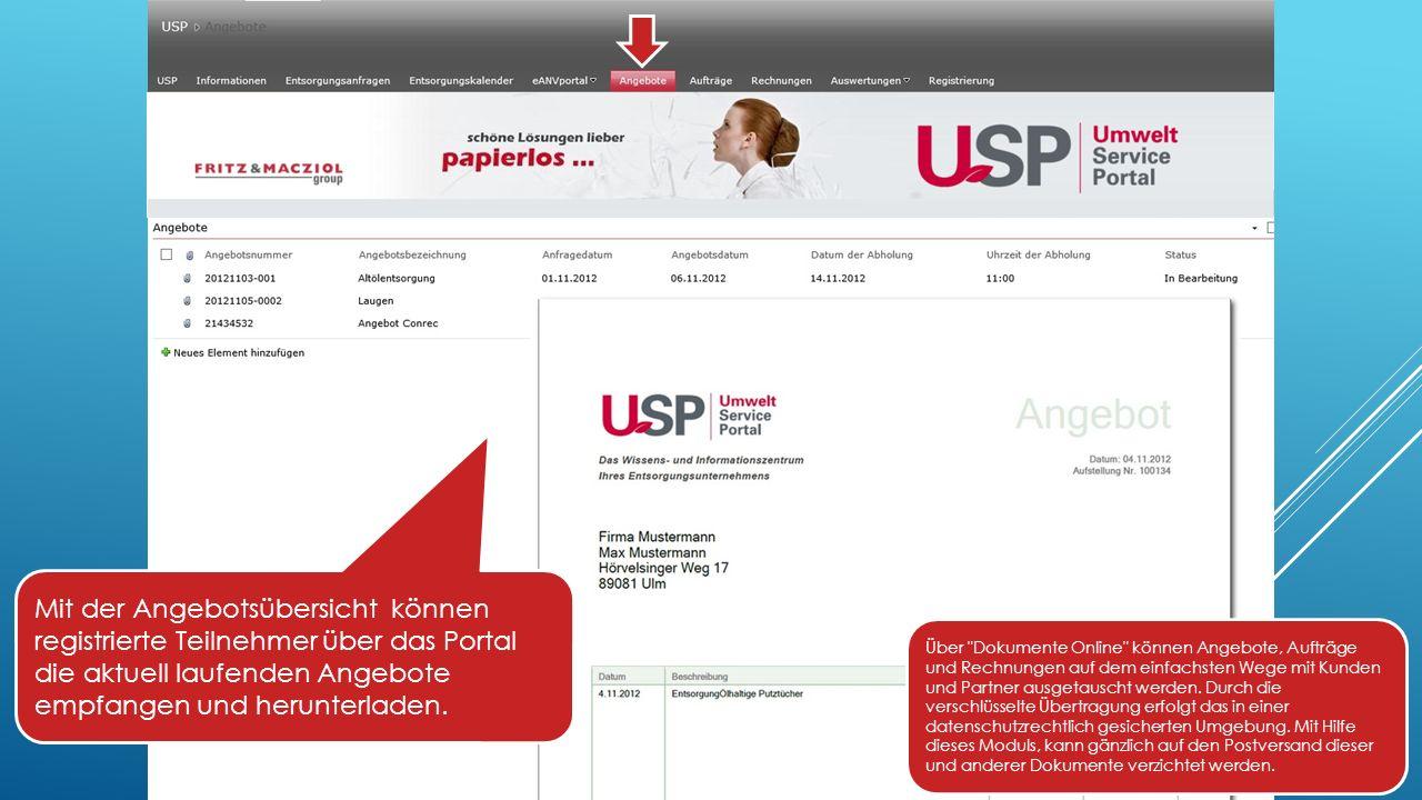 Mit der Angebotsübersicht können registrierte Teilnehmer über das Portal die aktuell laufenden Angebote empfangen und herunterladen.