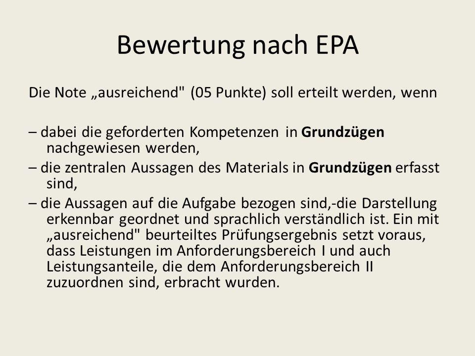 Bewertung nach EPA Die Note ausreichend