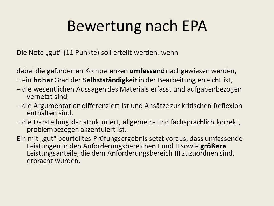 Bewertung nach EPA Die Note gut