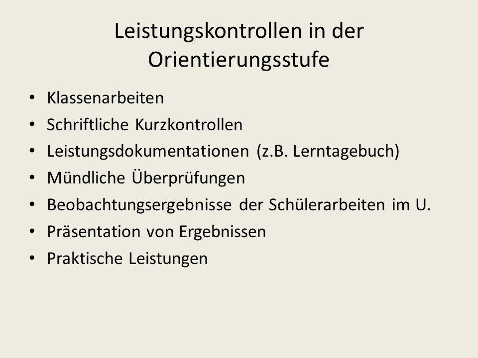 Leistungskontrollen in der Orientierungsstufe Klassenarbeiten Schriftliche Kurzkontrollen Leistungsdokumentationen (z.B. Lerntagebuch) Mündliche Überp