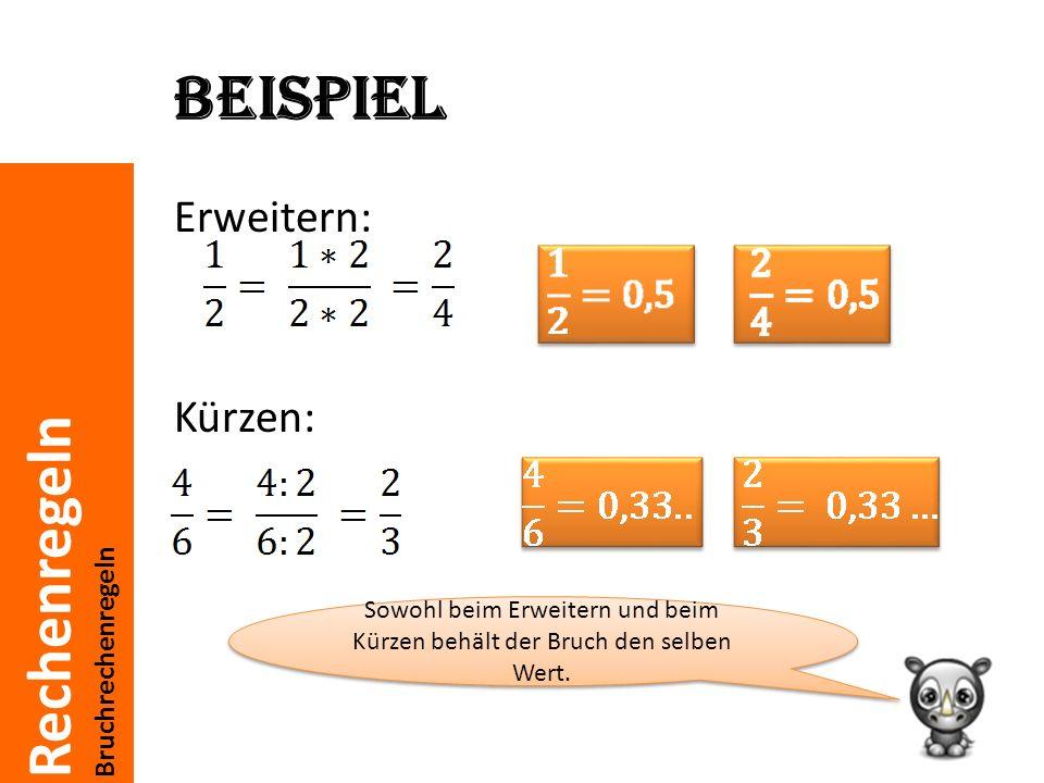 Rechenregeln Bruchrechenregeln Beispiel Erweitern: Kürzen: Sowohl beim Erweitern und beim Kürzen behält der Bruch den selben Wert.