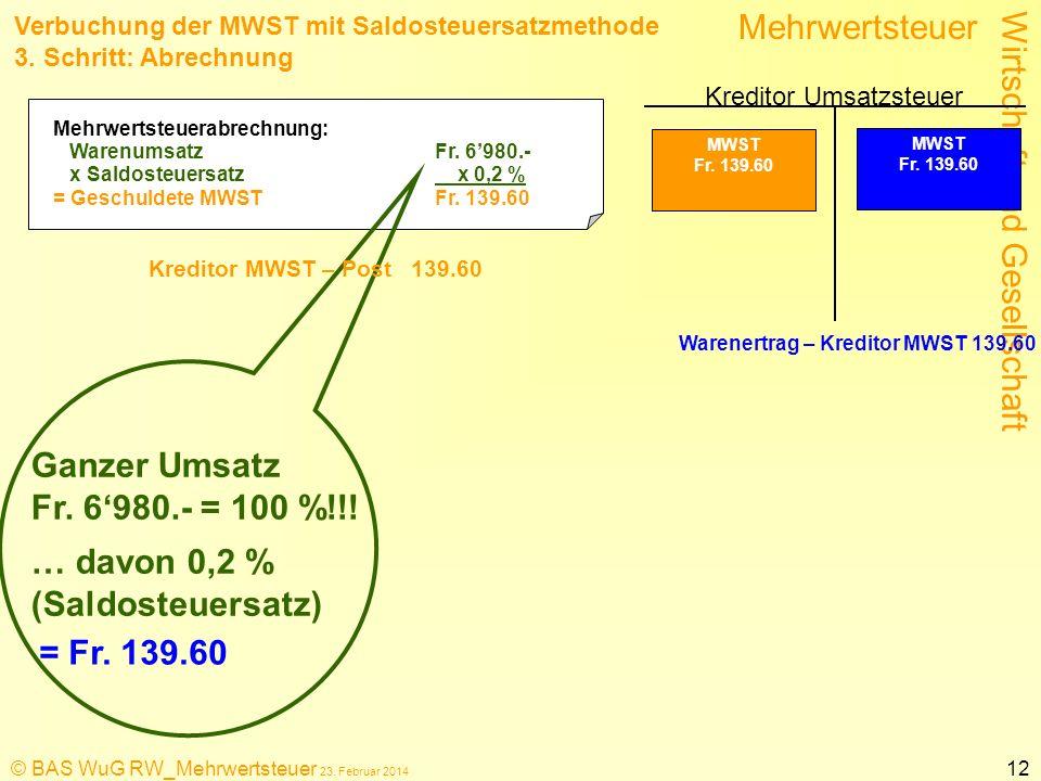 Wirtschaft und Gesellschaft Mehrwertsteuer © BAS WuG RW_Mehrwertsteuer 23. Februar 2014 12 Verbuchung der MWST mit Saldosteuersatzmethode 3. Schritt:
