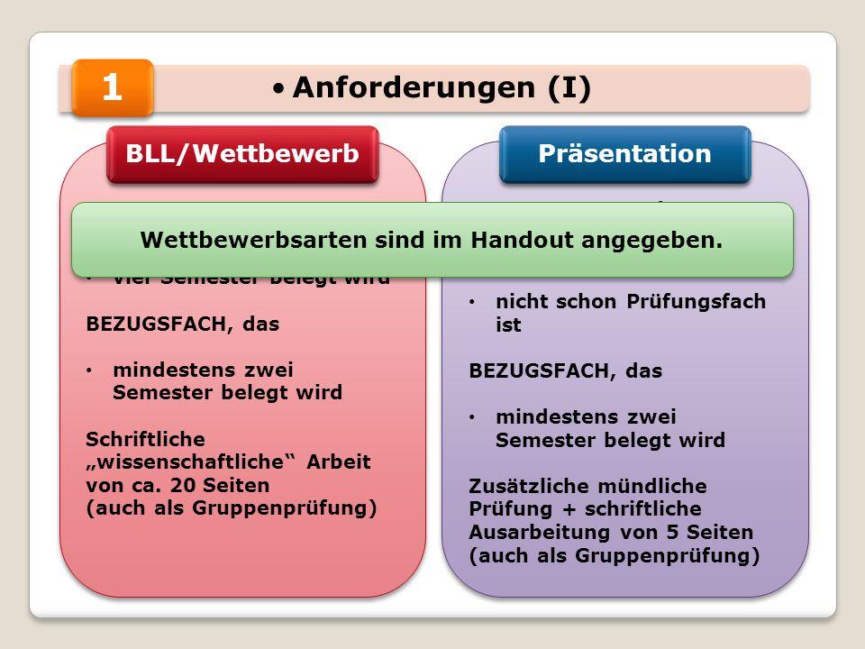 Anforderungen (I) REFERENZFACH, das vier Semester belegt wird BEZUGSFACH, das mindestens zwei Semester belegt wird Schriftliche wissenschaftliche Arbe