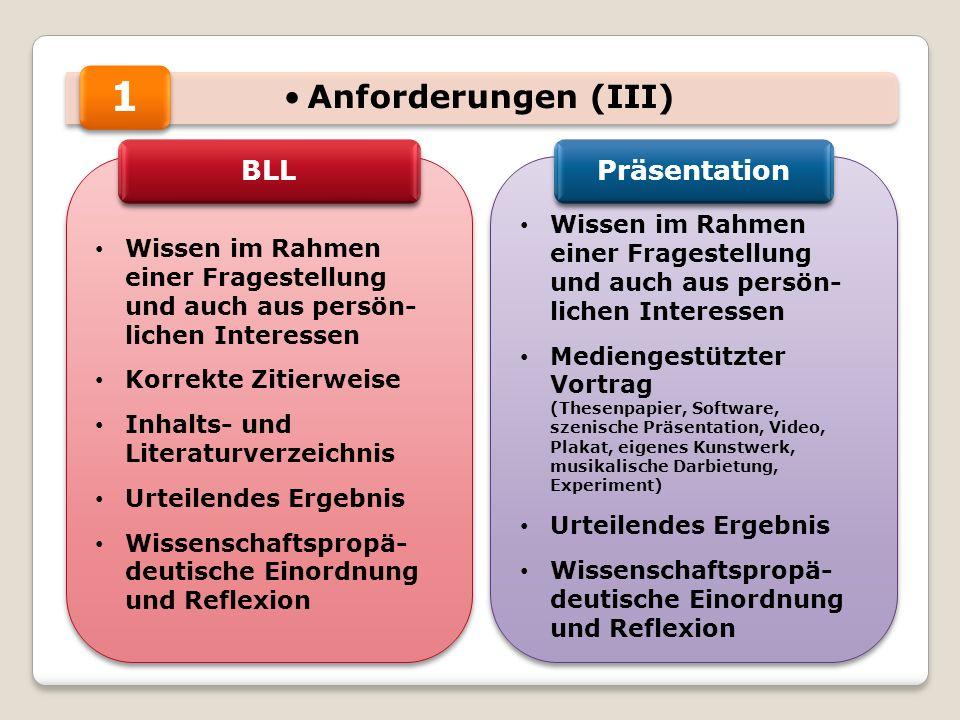 Anforderungen (III) Wissen im Rahmen einer Fragestellung und auch aus persön- lichen Interessen Korrekte Zitierweise Inhalts- und Literaturverzeichnis