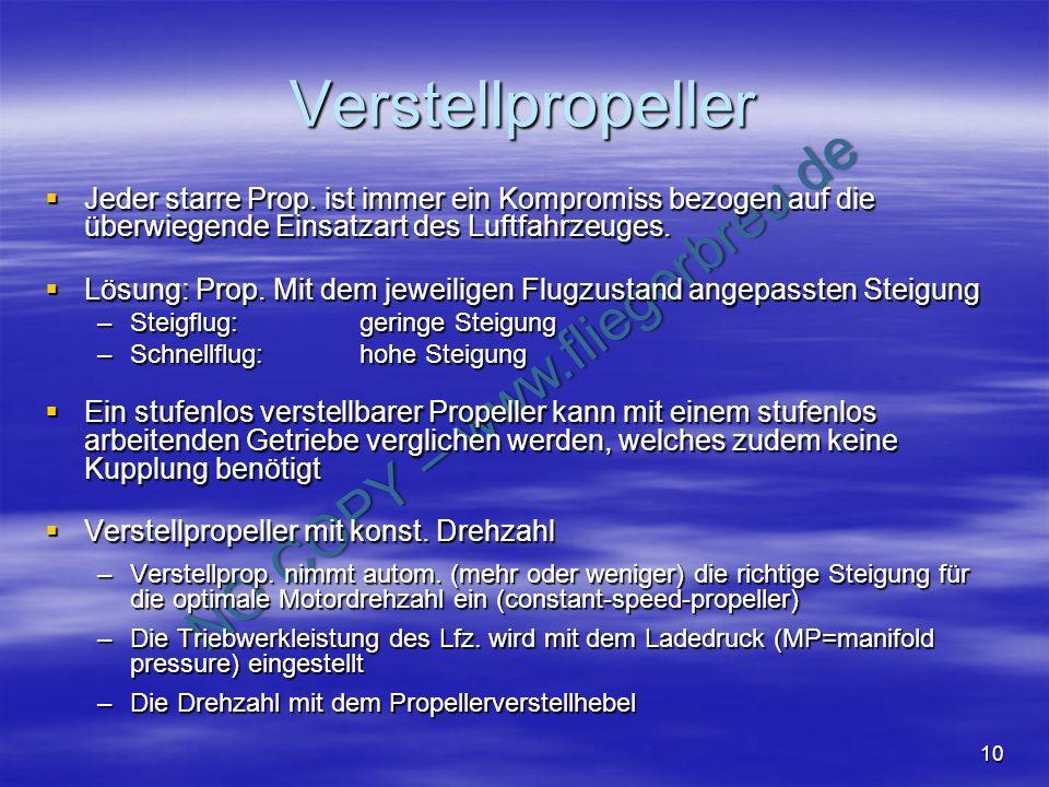 NO COPY – www.fliegerbreu.de 10 Verstellpropeller Jeder starre Prop. ist immer ein Kompromiss bezogen auf die überwiegende Einsatzart des Luftfahrzeug