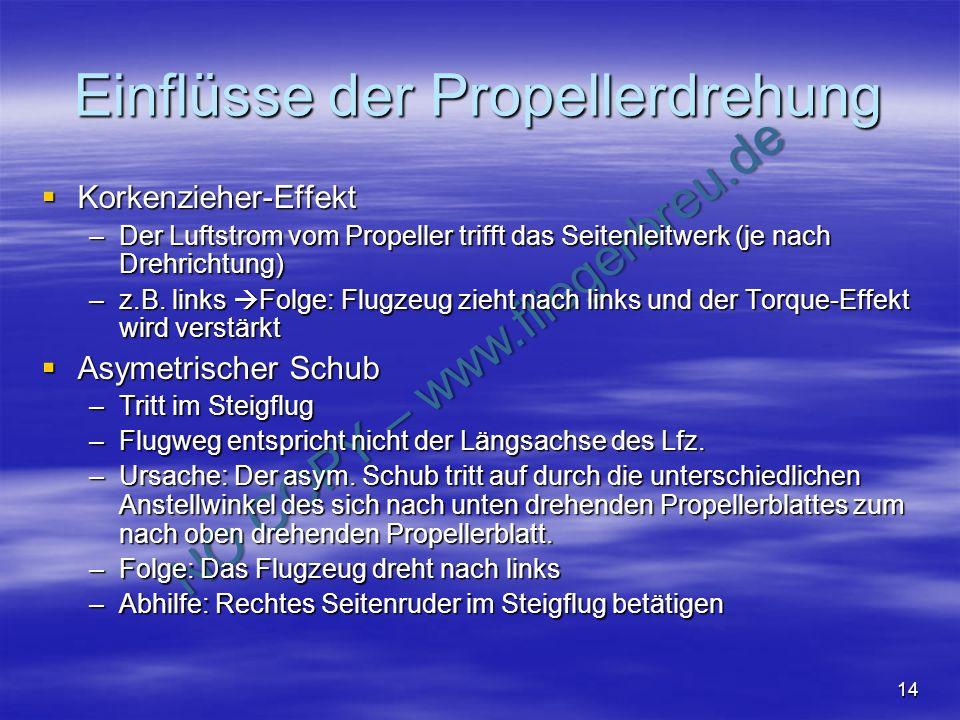 NO COPY – www.fliegerbreu.de 14 Einflüsse der Propellerdrehung Korkenzieher-Effekt Korkenzieher-Effekt –Der Luftstrom vom Propeller trifft das Seitenl