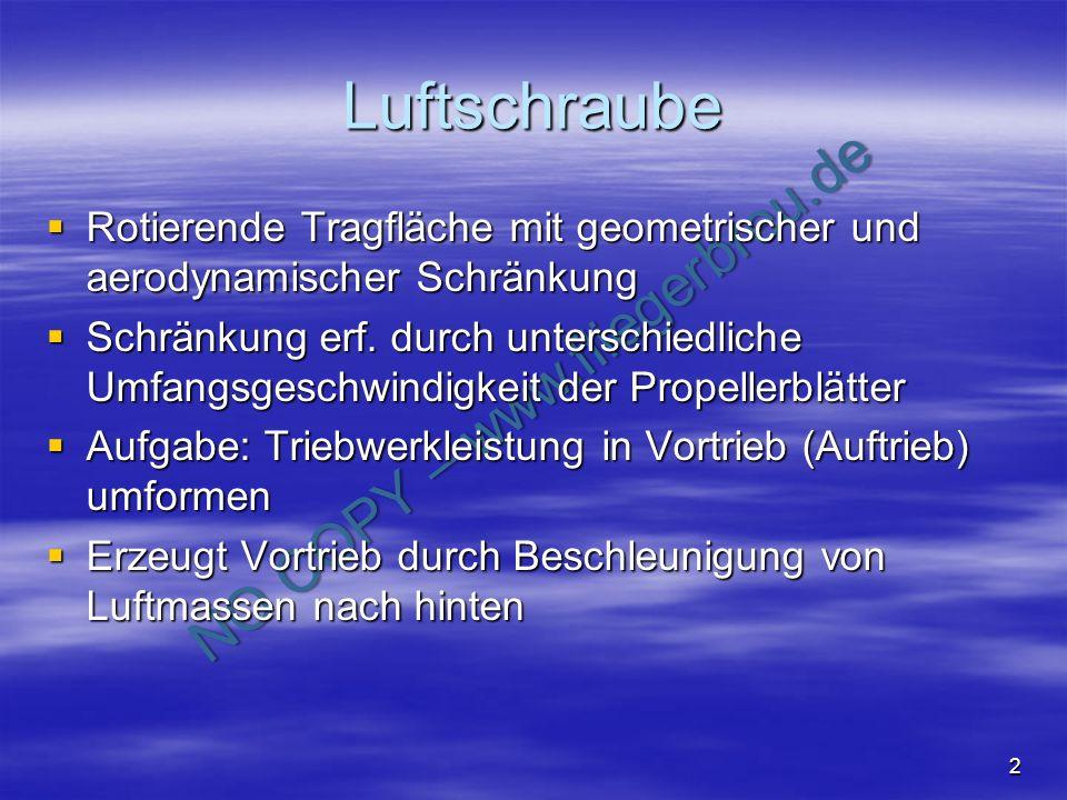 NO COPY – www.fliegerbreu.de 2 Luftschraube Rotierende Tragfläche mit geometrischer und aerodynamischer Schränkung Rotierende Tragfläche mit geometris