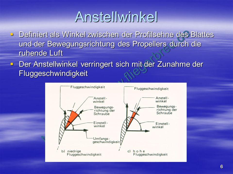 NO COPY – www.fliegerbreu.de 6 Anstellwinkel Definiert als Winkel zwischen der Profilsehne des Blattes und der Bewegungsrichtung des Propellers durch