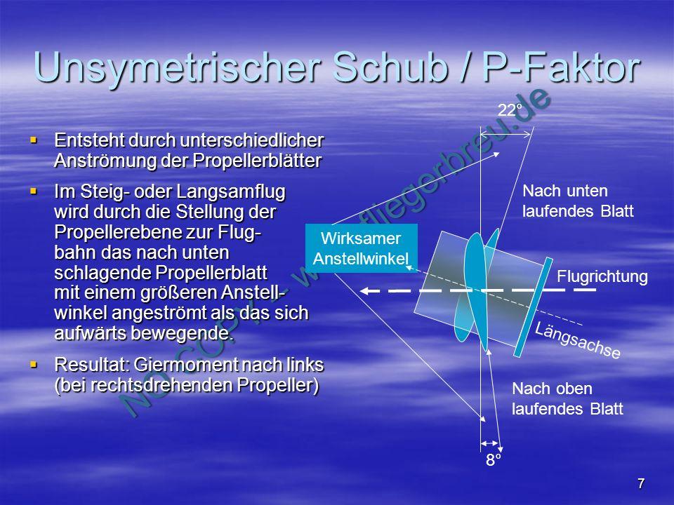 NO COPY – www.fliegerbreu.de 7 Unsymetrischer Schub / P-Faktor Entsteht durch unterschiedlicher Anströmung der Propellerblätter Entsteht durch untersc