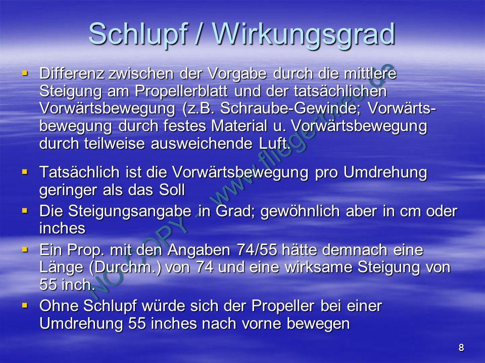 NO COPY – www.fliegerbreu.de 8 Schlupf / Wirkungsgrad Differenz zwischen der Vorgabe durch die mittlere Steigung am Propellerblatt und der tatsächlich