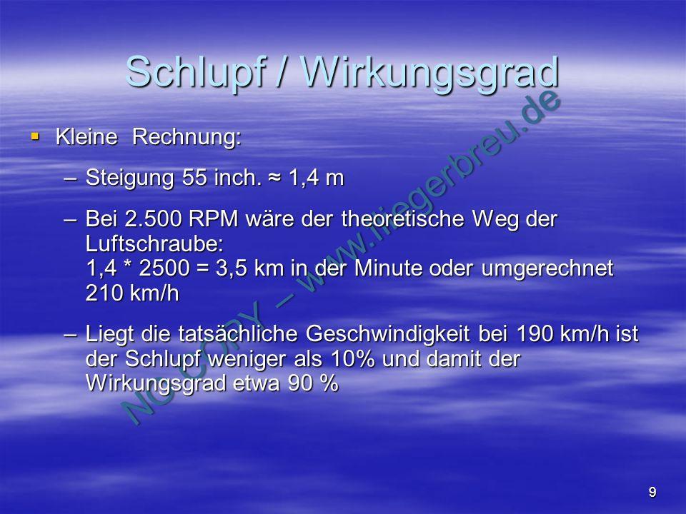 NO COPY – www.fliegerbreu.de 9 Schlupf / Wirkungsgrad Kleine Rechnung: Kleine Rechnung: –Steigung 55 inch. 1,4 m –Bei 2.500 RPM wäre der theoretische