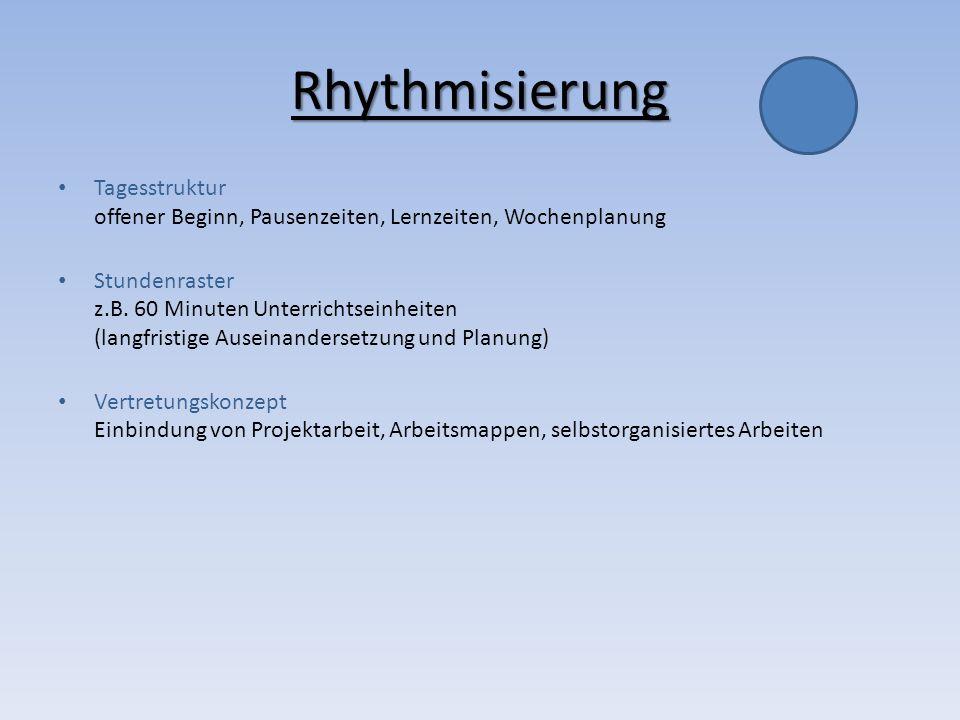 Rhythmisierung Tagesstruktur offener Beginn, Pausenzeiten, Lernzeiten, Wochenplanung Stundenraster z.B. 60 Minuten Unterrichtseinheiten (langfristige