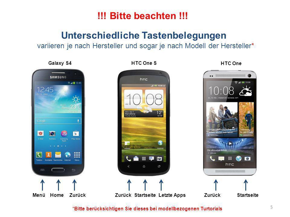 MenüHomeZurück StartseiteZurückStartseiteLetzte Apps Unterschiedliche Tastenbelegungen variieren je nach Hersteller und sogar je nach Modell der Herst