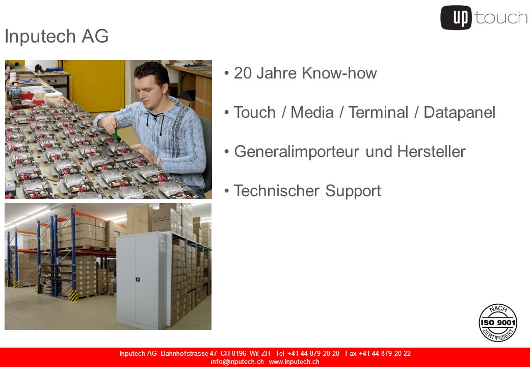 Inputech AG Bahnhofstrasse 47 CH-8196 Wil ZH Tel +41 44 879 20 20 Fax +41 44 879 20 22 info@inputech.ch www.Inputech.ch Kompakt PC 1.6 GHz ATOM Prozessor, lüfterlos Audio-Anschluss 12VDC (ext.