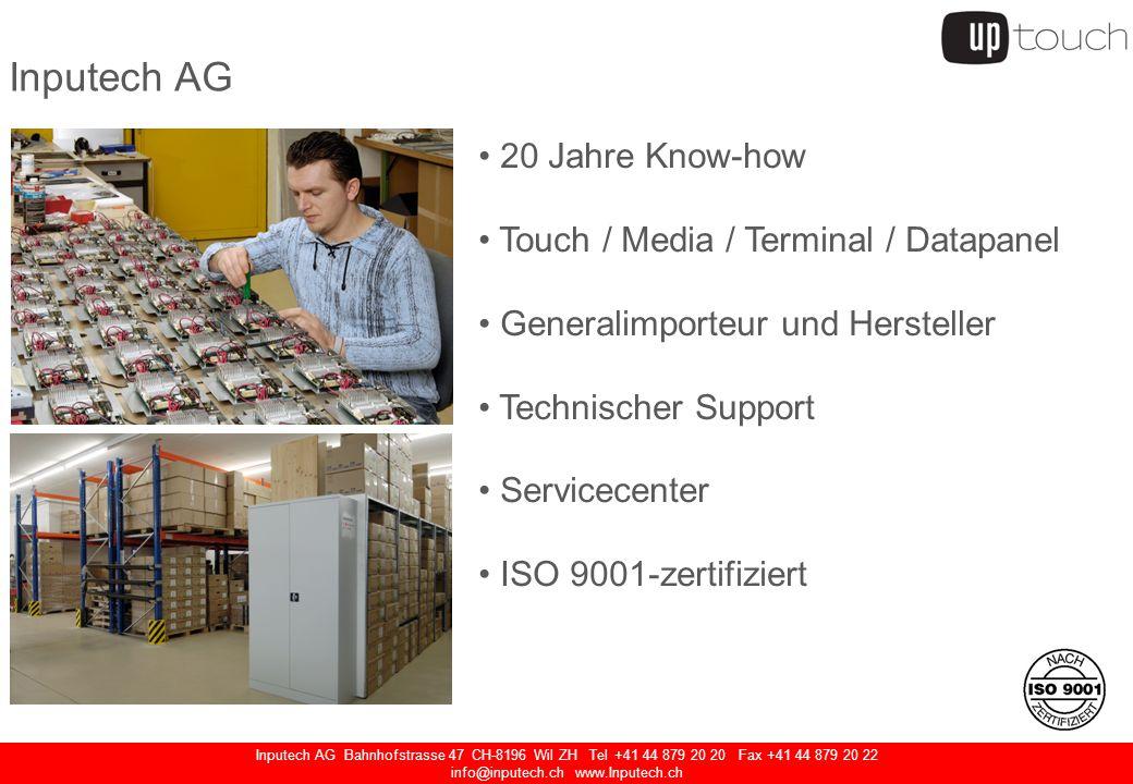 Inputech AG Bahnhofstrasse 47 CH-8196 Wil ZH Tel +41 44 879 20 20 Fax +41 44 879 20 22 info@inputech.ch www.Inputech.ch Touchscreen Computer IntelliTouch Touchscreen 1.6 GHz ATOM Prozessor, lüfterlos Audio-Anschluss Industrie Netzteil Netzschalter USB Anschluss (Frontseitig) XP Professional / WePOS / Windows 7